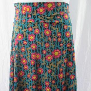 LuLaRoe Azure Skirt 2XL Smiling Flowers